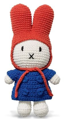 The handmade Miffy Knitted Toy by Just Dutch is a beautiful soft toy based on the iconic story book character Miffy by Dick Bruna. Miffy the bunny is Crochet Dollies, Crochet Toys, Kids Crochet, Big Head Baby, Bunny Hat, Miffy, Kid Character, Red Hood, Knitted Dolls