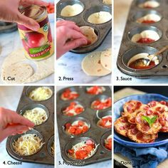 Mini Deep Dish Pizzas. Could use corn tortilla to make gluten-free. Easily customized.