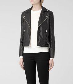 Womens Almere Leather Biker Jacket (Black) | ALLSAINTS.com