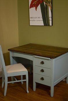 two toned desk redo