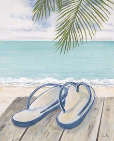 d2fe3fef1 Sandals (Decorative Art) Poster at AllPosters.com Beach Canvas Paintings