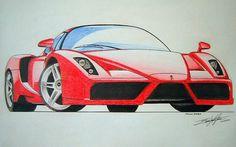 Ferrari Enzo by EdgardoS on DeviantArt Ferrari, Car Animation, Sketch Pad, Car Drawings, Colored Pencils, Fun Stuff, Porsche, Sketches, Home
