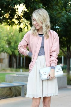 street style - bomber jacket - pink jacket - shimmer skirt - simply sutter
