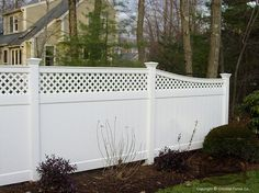 cottage+privacy+fences | Home/Cottage / Vinyl fence privacy screen fence with transition from 6 ...
