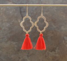 ~ Pretty cotton tassels dangle from gold or silver plated moroccan drops with a brushed finish. Available in White, Blush Pink, Aqua Blue, Coral and Denim Blue as shown in the third photo.  ~ Please see the drop down menu for metal and color options.   Need more? I offer a tiered discount for orders in multiples. Just message me for pricing.  Your earrings will arrive in a lovely kraft gift box with a ribbon, ready for gift-giving. A perfect gift for the bridesmaids in your wedding party…