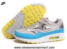 sports shoes 6cf97 c1aea 2014 Mens Nike Air Max 1 87 Running Shoes Silver Blue Nike Air Max Running,