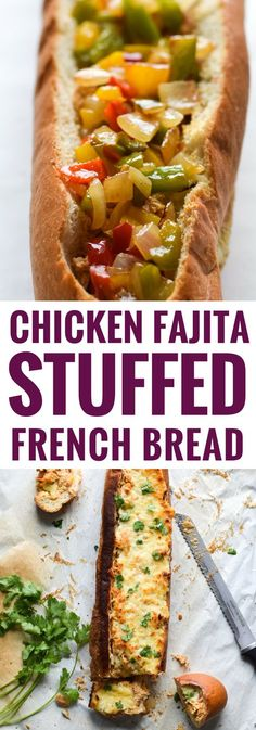 A crowd favorite, this Chicken Fajita Stuffed French Bread is a creamy, cheesy, and super flavorful appetizer that's perfect for parties and game day! via (Paleo Chicken Fajitas) Appetizer Recipes, Dinner Recipes, Appetizers, Sandwich Recipes, Good Food, Yummy Food, Tasty, Cooking Recipes, Healthy Recipes