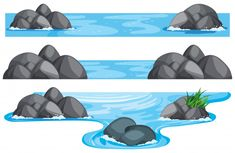 Three scenes of river and lake Free Vector Rock Clipart, Logo Voyage, Flannel Board Stories, Cute Paintings, Anime Scenery Wallpaper, Charlie Brown And Snoopy, Fox Art, Photoshop Photography, Nature Scenes