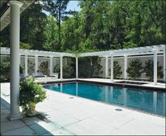 Formal Poolside Pergola | Wood Pergolas, Vinyl Pergolas from Walpole Woodworkers