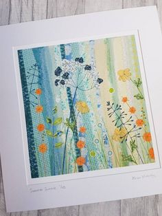 Summer Sunrise, limited edition print, botanical print, textileart print, giclee print, applique, free motion, machine embroidery,