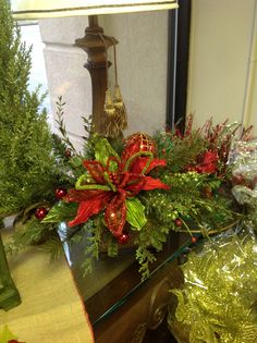 Christmas floral arrangement. Idea for decorating for the holidays.