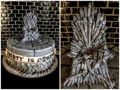 My version of Game of Thrones cake with the sword throne made from sugarpaste