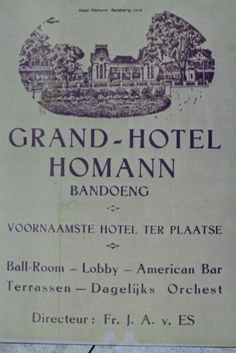 Pamflet promosi hotel Homann Bandoeng | Flickr - Photo Sharing!