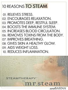 Splendor in the Bath. 10 Reasons to Steam, via a facial, steam room, or steam bath.
