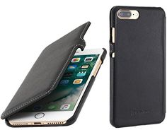 "nice StilGut Book Type with Closure, Genuine Leather-Cover for iPhone 7 Plus (5.5""), Black Nappa"