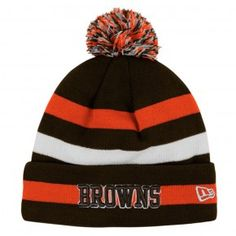 Browns Sideline Sport Multi Stripe Cuffed Pom Knit