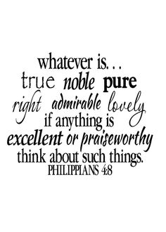 Philippians 4:8 Wall Art Bible Verse Vinyl Decal Scripture Vinyl Decal - 22 x 26 via Etsy