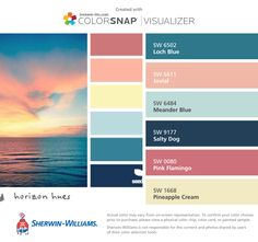 I found these colors with ColorSnap® Visualizer for iPhone by Sherwin-Williams: Loch Blue (SW 6502), Jovial (SW 6611), Meander Blue (SW 6484), Salty Dog (SW 9177), Pink Flamingo (SW 0080), Pineapple Cream (SW 1668).