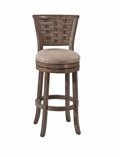 Boasting a basket woven detail and a trendy antique graywash finish, the Hillsdale Thredson Swivel Stool will complement an array of décors. Crafted from wood and exhibiting interwoven panels, this divine stool features a putty fabric seat covering. Wooden Swivel Bar Stools, Swivel Counter Stools, 24 Bar Stools, Counter Height Stools, Bar Chairs, Bar Counter, Island Stools, Dining Chairs, Swivel Chair