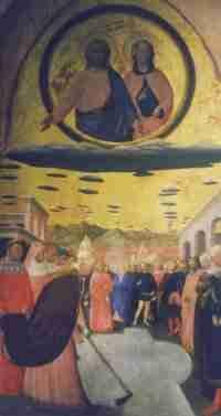 """Il celebre dipinto di Masolino da Panicale intitolato """"Il miracolo della neve"""" (1429). E' conservato a Napoli, presso il Museo di Capodimont..."""