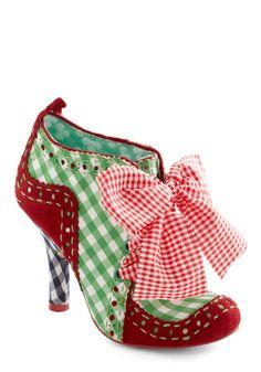 Alfresco Fiesta Heel by Irregular Choice - Red, Black, White, Checkered / Gingham, Bows, Mid, Lace Up, Multi, Green, Work, International Designer