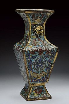 An interesting gilt bronze and cloisonne' enamels vase, China 18th century.