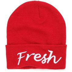 With Love From CA Fresh Beanie ($9.09) ❤ liked on Polyvore featuring accessories, hats, beanie, red, embroidered hats, embroidery hats, embroidered beanie, acrylic hat and acrylic beanie hat