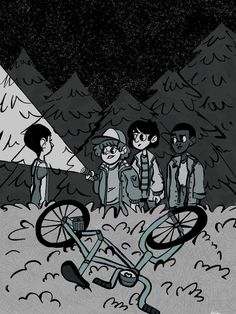 Eleven, Dustin Henderson, Mike Wheeler, and Lucas Sinclair - Stranger Things art by facecoffee