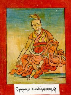 Gyalwa Chogyang, one of the first seven monks trained by Shantarakshita, one of the eight main disciples of Guru Padmasambhava. Mastering the horse of no-action, he radiated the light of Amitabha transforming his body into a raging fire, his crown emitting the whinny of stallions.  Received Hayagriva transmission from Padmasambhava, practiced in solitude and reached the level of a vidyadhara, completely merging his mind with the state of absolute freedom