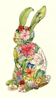 year of the rabbit by C'est_Louise, via Flickr, colored pencil on paper, 11x14 in