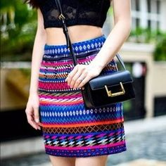 I just discovered this while shopping on Poshmark: TOPSHOP Aztec Multicolored Skirt. Check it out! Price: $30 Size: 2