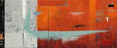 """""""Medicine Line"""" No. 3813 K. N. Ghiglione encaustic diptych 76cm x 183cm/ 30"""" x 72"""" August 2014 This larger work that suggests the colours and lost communication of a bygone era. I found the towns, buildings and homes along secondary and side highways offered up lots of inspiration of colour and patina. The """"Medicine Line"""" refers to the Canada/ USA border where the aboriginal native indians found solace in Canada. No. 3813 pays homage to Saskatchewan Hwy 13 runs parallel the 49th parallel…"""
