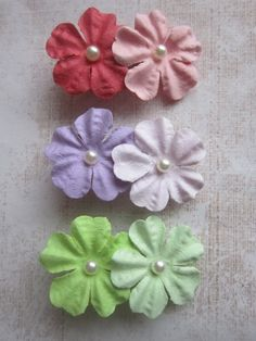 Set of 3 Sweet Paper Flower Hair Clips - Pink, Purple & Green. $5.00, via Etsy. Valentines day hair accessory clip headband baby girl