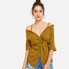 V Neck Twist Button Cami Half Sleeve Ginger Blouse Shirt