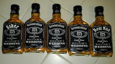 How the groom asks his attendants to be in our wedding using Jack Daniels bottles, photoshop, and mod podge