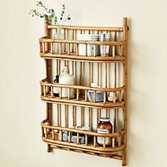 Our Lileth Shelves are deep enough to accommodate rolled tissue. Five pegs at the base hold hand towels or aprons. Hand crafted of natural rattan. Cane Furniture, Bamboo Furniture, Apartment Furniture, Furniture Ideas, Bamboo Shelf, Bamboo Wall, Wicker Shelf, Indian Home Interior, Van Interior