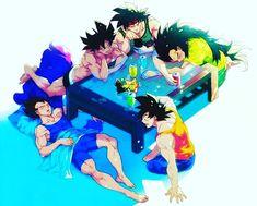 I see Goku Vejita Bardock and Radditz, dunno who the last (and almost naked XD) one is. Dragon Ball Gt, Dragon Rey, Dbz, Manga Anime, Anime Art, Dragon Images, Cute Dragons, Animation, Anime Comics