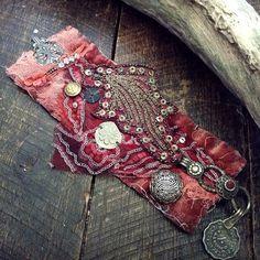 Manchette steampunk tissu récupéré brassard tzigane