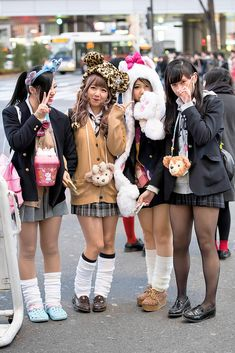 "tokyo-fashion: "" Shibuya girls in school uniforms, loose socks, and animal hats. Japan School Uniform, School Uniform Fashion, School Uniform Girls, Student Fashion, School Uniforms, Girls School, Gyaru Fashion, Harajuku Fashion, Harajuku Japan"