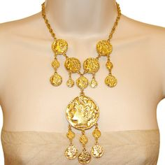 Trifari Coin Necklace Signed Vintage 1970s by PearlModern on Etsy, $295.00