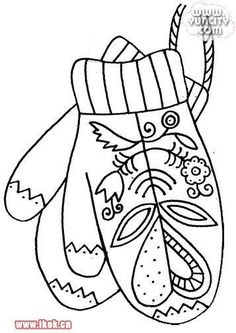 February Mittens Folk Art Style Embroidery Pattern Or Coloring Page