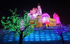 Ice Sculptures and Light Festival in Harbin, China