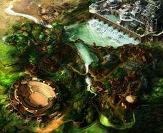Elven City Map Elven city Fantasy landscape Elf city