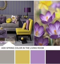 Our bedroom color scheme. We need some more purple, white, and gray to add to all the yellow of the walls.