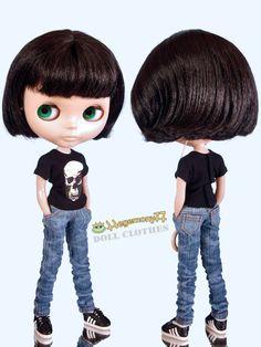 Blythe Monster High Dal 23 cm Obitsu doll size worn blue washed jeans pants