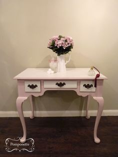Dressing table - previously red mahogany. Transformed with @Annie Compean Sloan Antoinette with Old White accents.