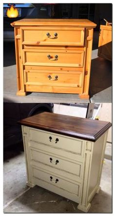 """Pimp my ride? No. It's """"Pinterest my knotty pine nightstand"""". 1. Stripped with Citristrip 2. Stained with Rustoleum in Kona 3. Painted with homemade chalk paint in Benjamin Moore Clay Beige 4. Antique glazed with Valspar Asphaltum 5. Sealed with Minwax Polycrylic....Taddow! by Sherri32"""
