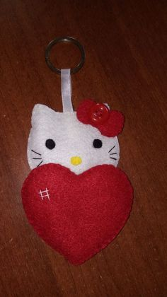 Hello Kitty, Christmas Ornaments, Holiday Decor, Home Decor, Key Fobs, Felting, Decoration Home, Room Decor, Christmas Jewelry