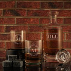 Bootlegger - Design's Deep-Carved Decanter with Monogram Designs & OPTIONAL Monogrammed Old Fashioned Tumblers and Engraved Whiskey Stones by DesignstheLimit #TrendingEtsy