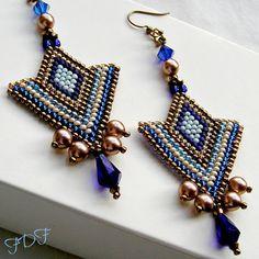 Brun, bleu & crème Chevron modèle boucles d'oreilles - Art déco, semences perlée tribale, High Fashion Boucles d'oreilles en bronze